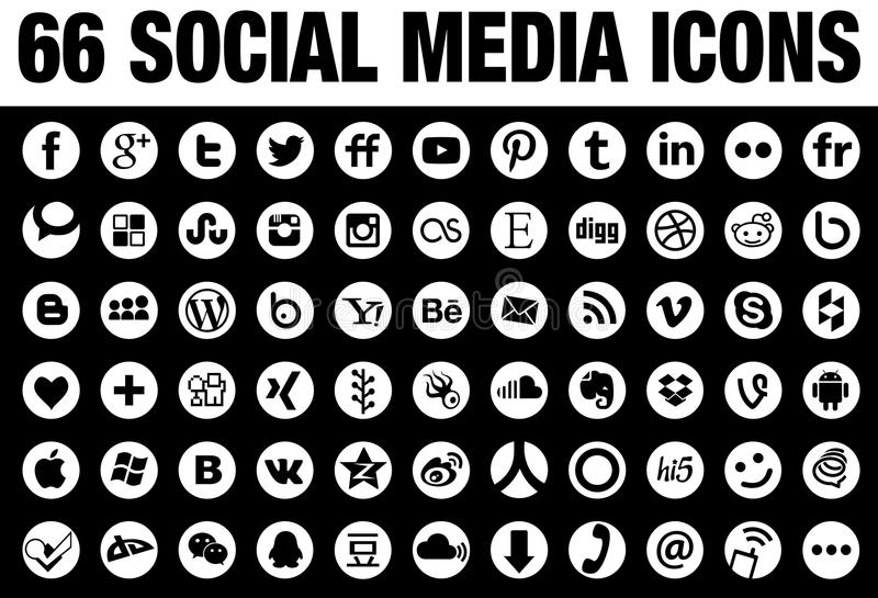 66 Round Social Media Icons white. 66 simple flat round Social Media icons collection, white, the base must have set of icons for webdesign and graphicdesign royalty free illustration