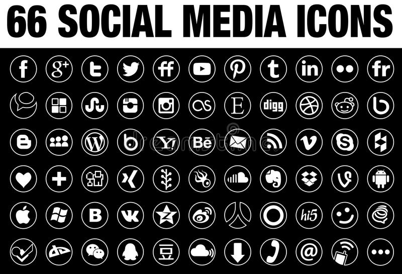 66 Round Social Media Icons white with tin border. 66 simple flat round Social Media icons collection, white, with tin elegant border, the base must have set of stock illustration