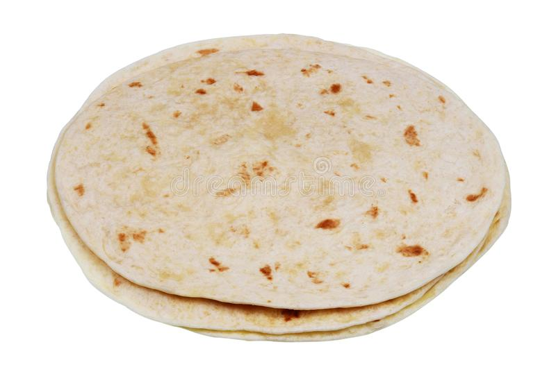 Round soft wheat flour tortilla pancakes isolated macro stock images