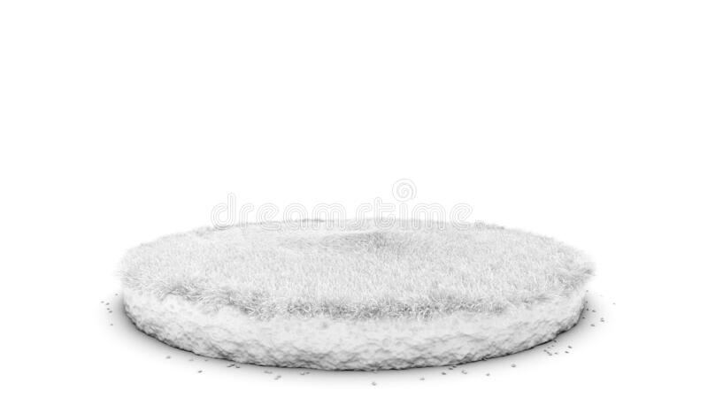 Ambient Occlusion 3D rendering of cutaway terrain floor with rock isolated. Round soil ground cross section with earth land and green grass, Ambient Occlusion 3D royalty free illustration
