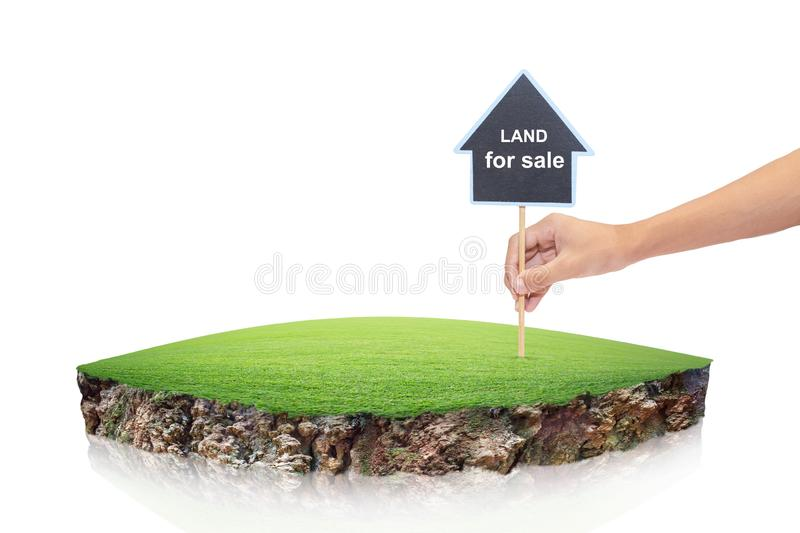 Round soil ground cross section with earth land. House symbol w. Ith location pin and green grass in real estate sale or property investment concept, Buying new stock photography