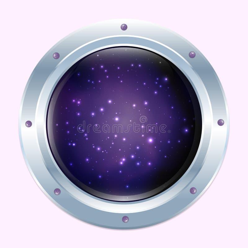 Round spaceship window with stars and dark cosmos. royalty free illustration