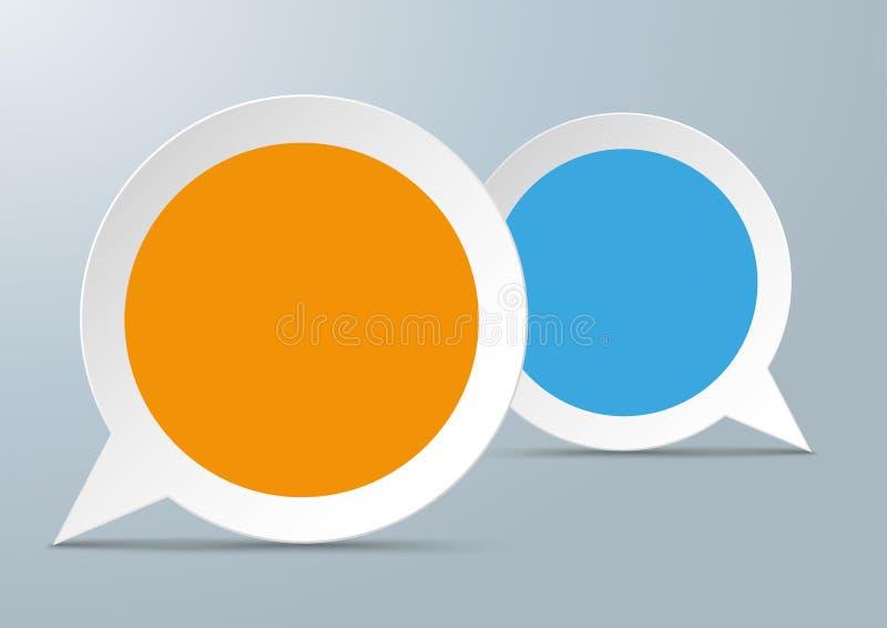 2 Round Speech Bubbles Colored Centre. 2 round speech bubbles with colored centre on the gray background stock illustration