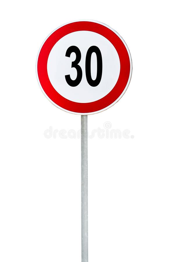Round speed limit 30 road sign isolated on white stock photography