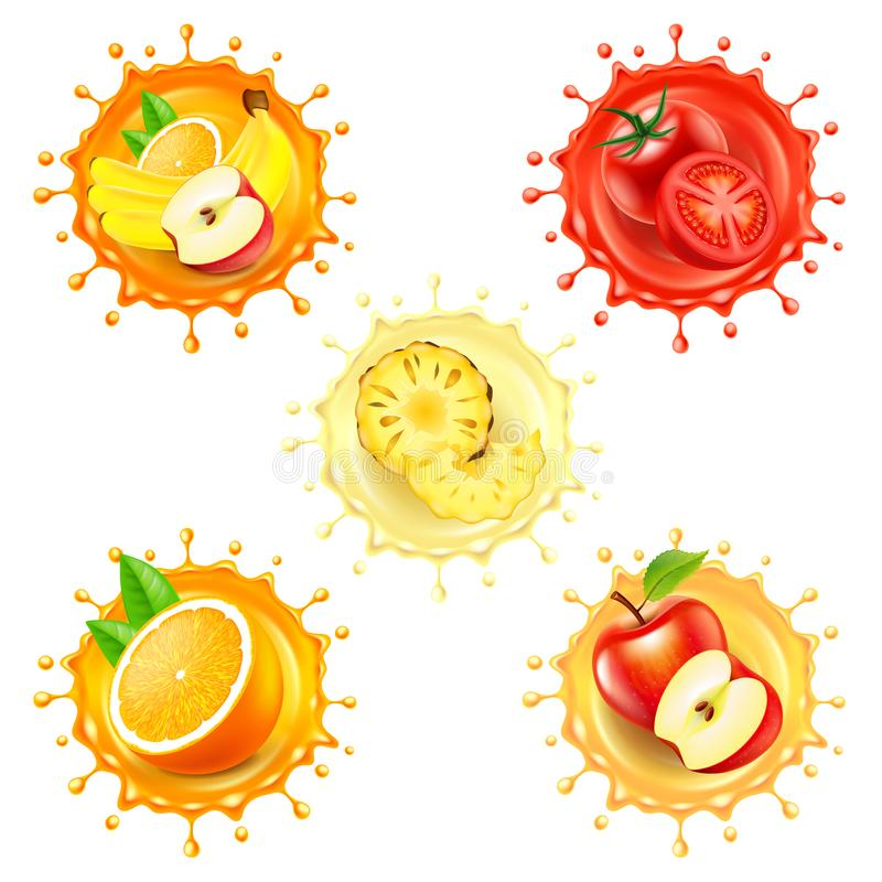 Round splashes with fruits 3d realistic vector set vector illustration