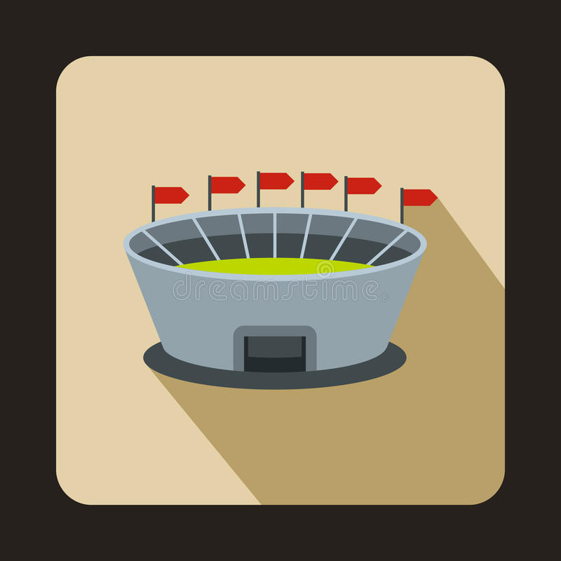 Round sports stadium with flags icon, flat style vector illustration