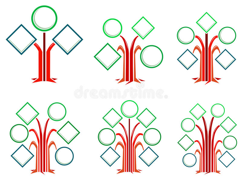 Round and square frames trees royalty free illustration