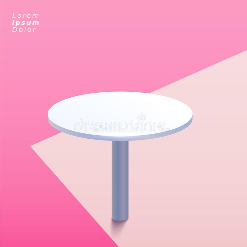 Round stół na pastelowym tle royalty ilustracja