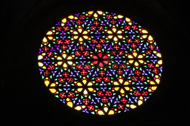 Download Blooming Flowers Stained Glass Window Stock Image
