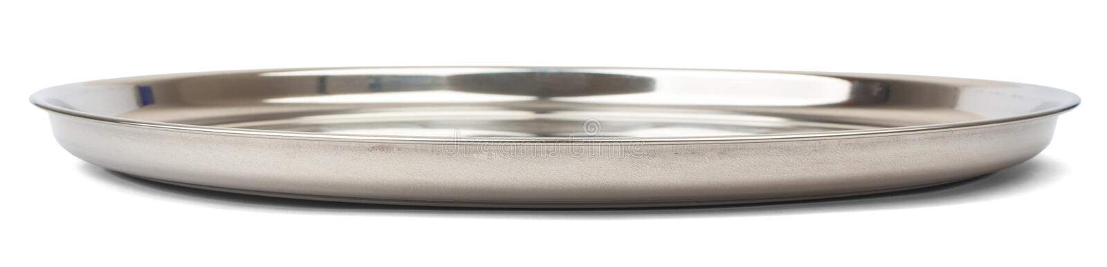 Round steel tray. Isolated on white background, side view stock images