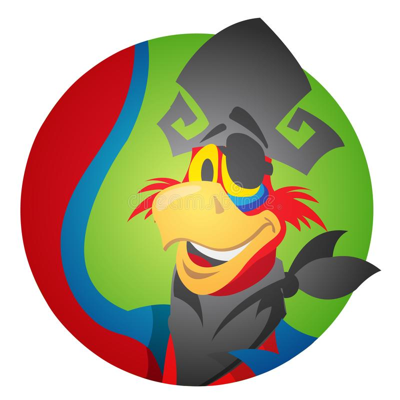 Round sticker with the image of a cheerful parrot in a pirate hat and eye patch. Cartoon illustration for gaming mobile applicatio vector illustration