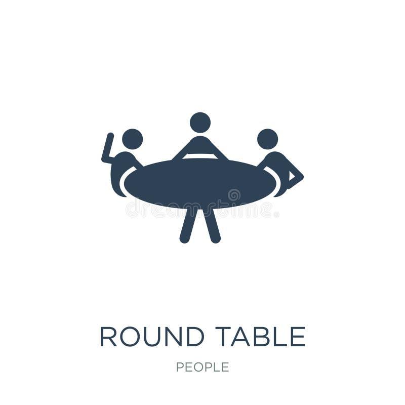 round stołu ikona w modnym projekta stylu round stołu ikona odizolowywająca na białym tle round stołu wektorowa ikona prosta i no ilustracji