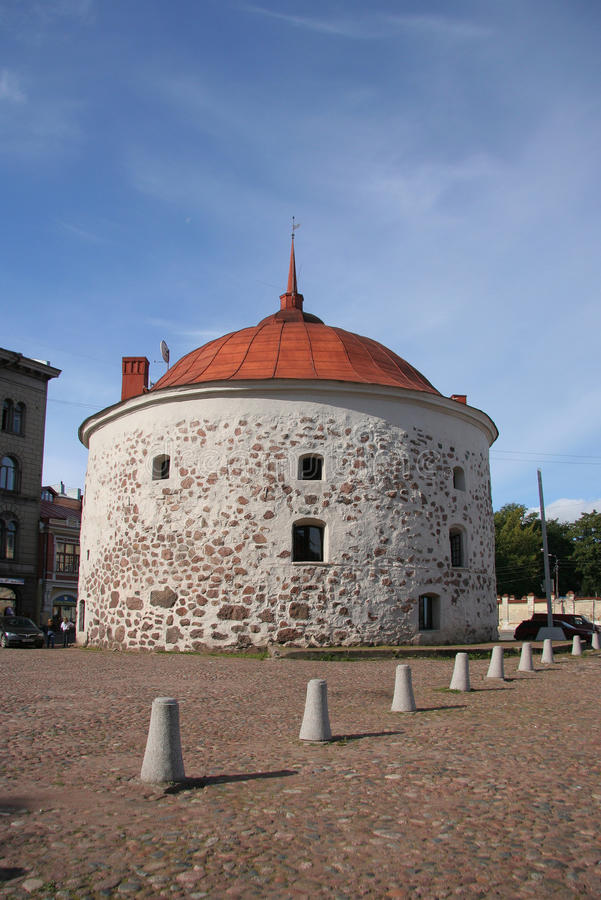 Round Stone Tower in Vyborg royalty free stock photo