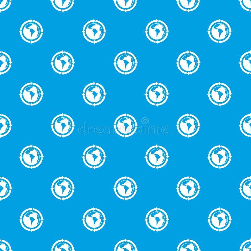 Round strzała wokoło światowego planeta wzoru bezszwowego błękita royalty ilustracja