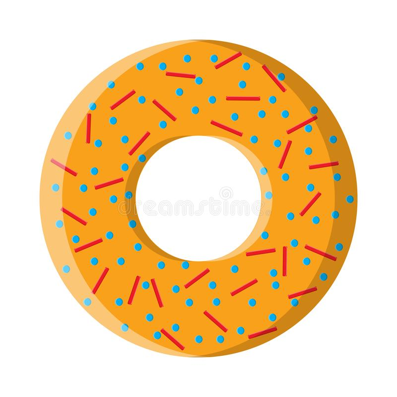 Round sweet tasty hearty hot fresh donut, pastry, biscuits with sugar topping on a white background. Vector illustration.  royalty free illustration