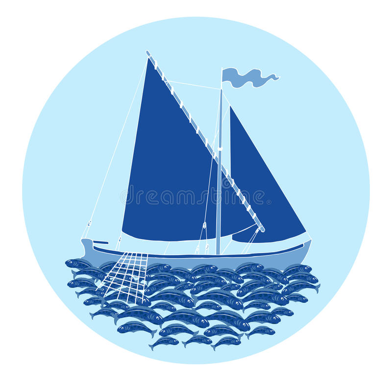 Round symbol with fishing boat and fish catch. Round design background with fishing boat and fish catch on blue, with hand drawn elements stock illustration