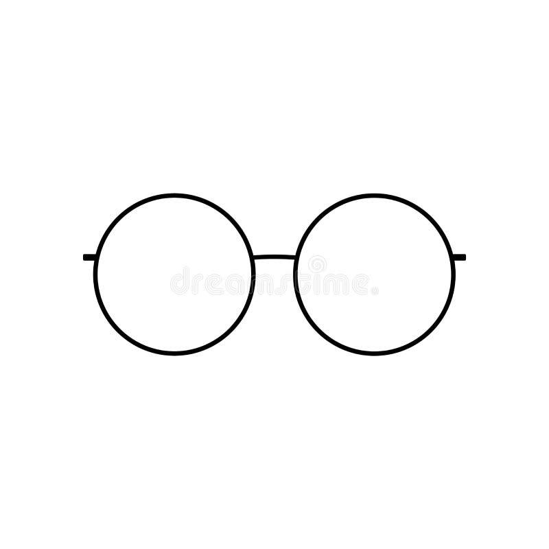Round szk?o ikona Sylwetka szkła, odosobniony biały tło Nowożytny chłodno graficzny projekt Czerni klingeryt ilustracja wektor