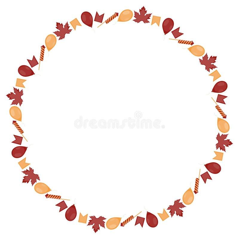 Round sztandar dla Kanada dnia Inskrypcja otacza koloru żółtego małymi liśćmi klonowymi, flagami, piłkami i petardami na a, ilustracja wektor