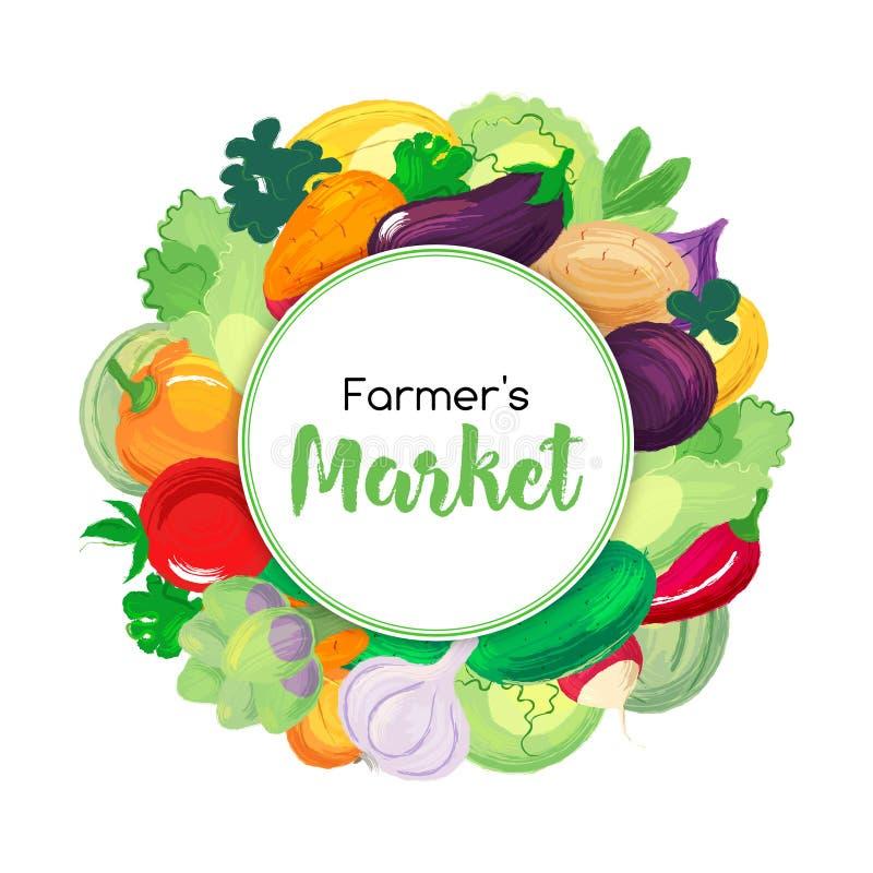 Round sztandar dla rolników rynków i menu z warzywami royalty ilustracja