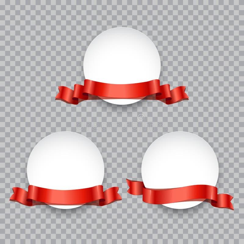 Round sztandar lub odznaka dekorowaliśmy z czerwonym faborku setem Wektorowi promocyjni projektów elementy ilustracja wektor