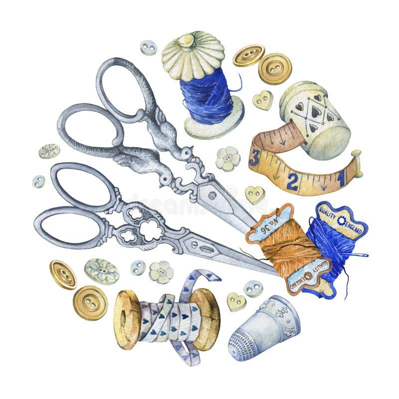 Round sztandar malował różnych antyki dla szyć, uszycia i handmade, ilustracja wektor