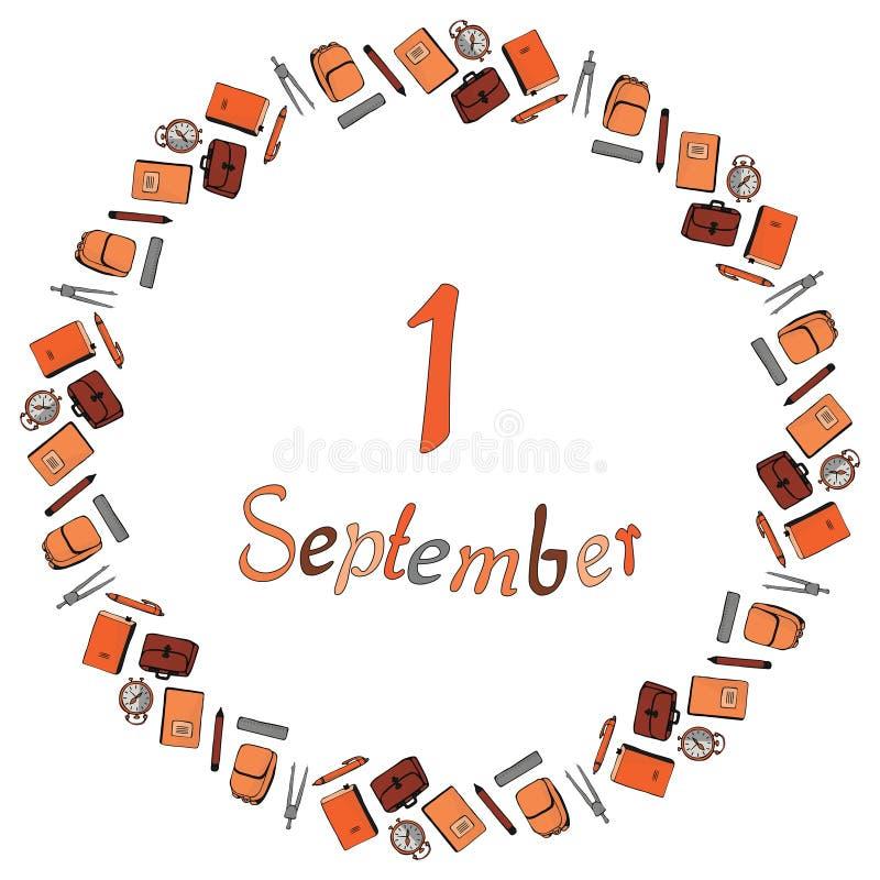 Round sztandar od wpisowego Września 1, otaczającego ołówkami, pióra, kompasy, budziki, notatniki, podręczniki, backpac royalty ilustracja