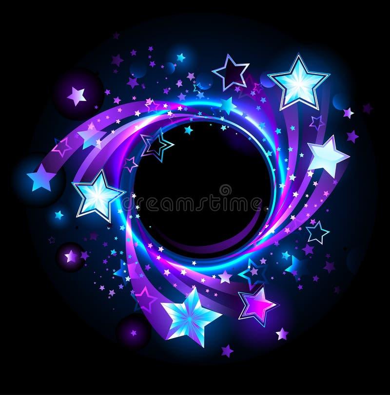 Round sztandar z błękitnymi gwiazdami royalty ilustracja