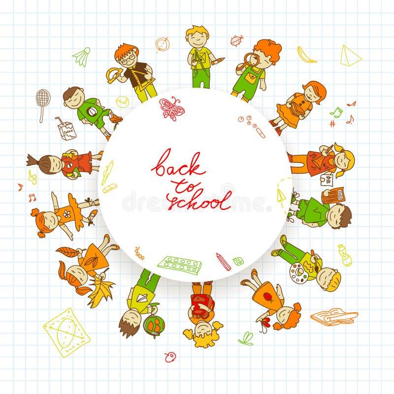 Round sztandar z dzieciakami royalty ilustracja