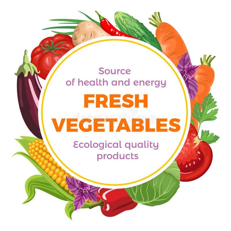 Round sztandar z różnorodnymi warzywami i ziele ilustracji