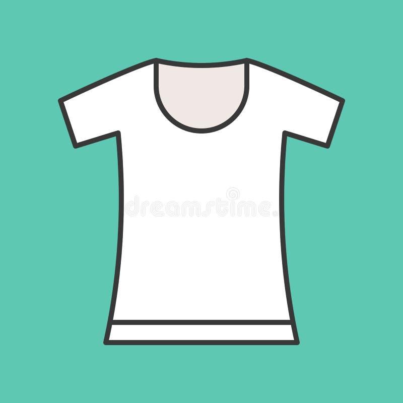Round szyi t koszula, wypełniający koloru konturu editable uderzenie ilustracji