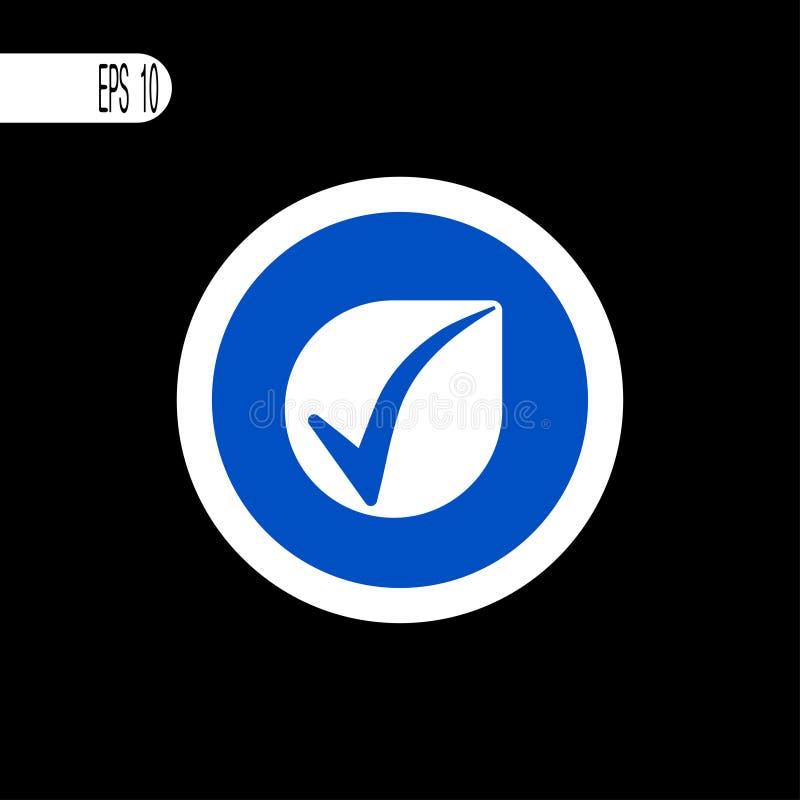 Round szyldowego bielu cienka linia Checkmark znak, ikona - wektorowa ilustracja royalty ilustracja