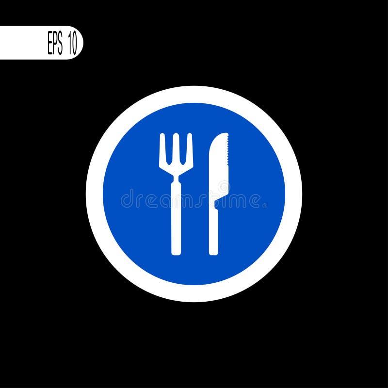 Round szyldowego bielu cienka linia Drogowy rozwidlenie i nóż podpisujemy, ikona - ilustracja royalty ilustracja