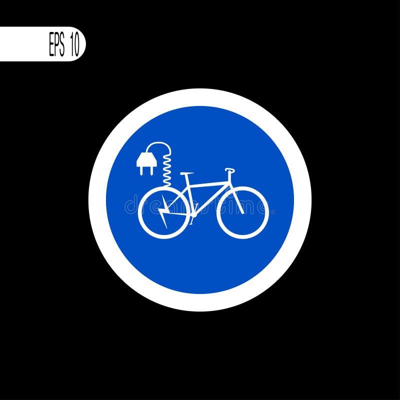 Round szyldowego bielu cienka linia Elektryczny bicyklu znak, ikona - wektorowa ilustracja ilustracji