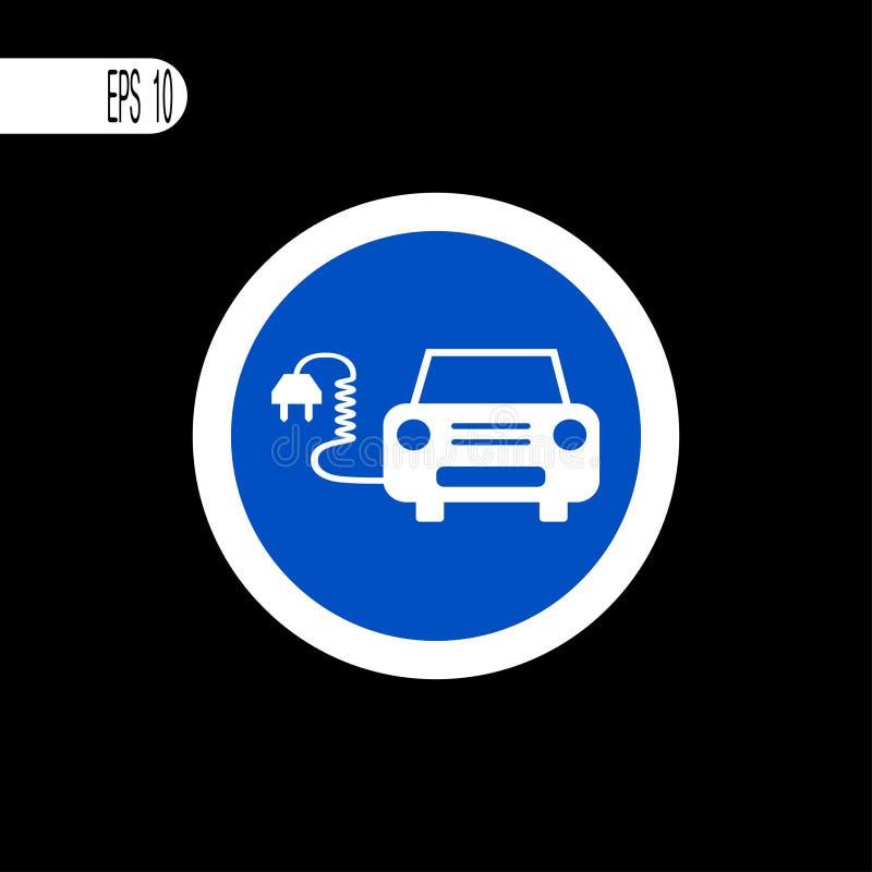 Round szyldowego bielu cienka linia Elektryczny samochodu znak, ikona - wektorowa ilustracja ilustracja wektor