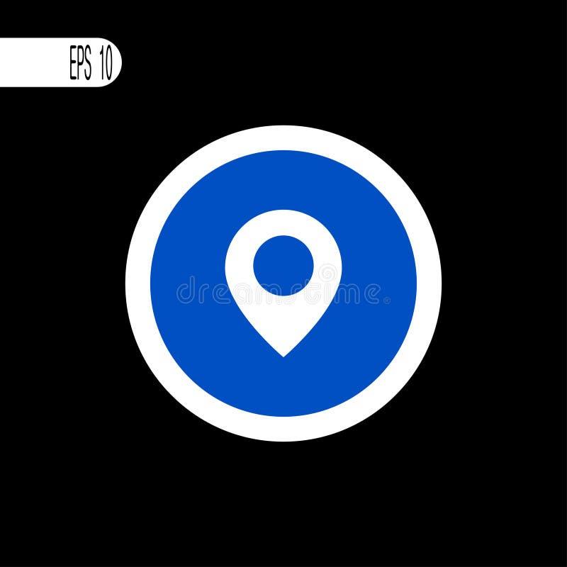 Round szyldowego bielu cienka linia Mapa, gps podpisuje, ikona - wektorowa ilustracja royalty ilustracja