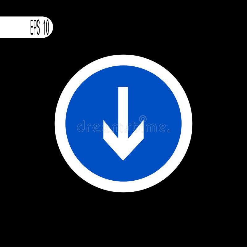 Round szyldowego bielu cienka linia Puszek strzały znak, ikona - wektorowego illustrationRound znaka bielu cienka linia Puszek st ilustracja wektor