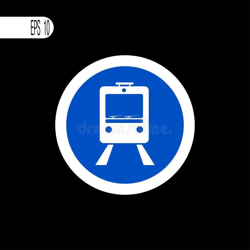 Round szyldowego bielu cienka linia Tramwaj, pociągu znak, ikona - wektorowa ilustracja ilustracja wektor