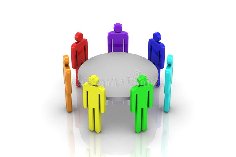 Round table. White background, 3d render royalty free illustration