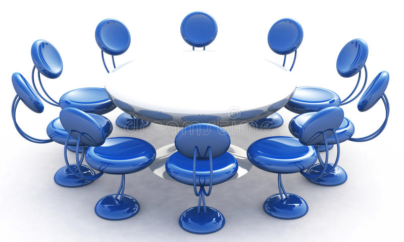 Download Round Table And Blue Chairs Stock Illustration - Illustration: 18859933
