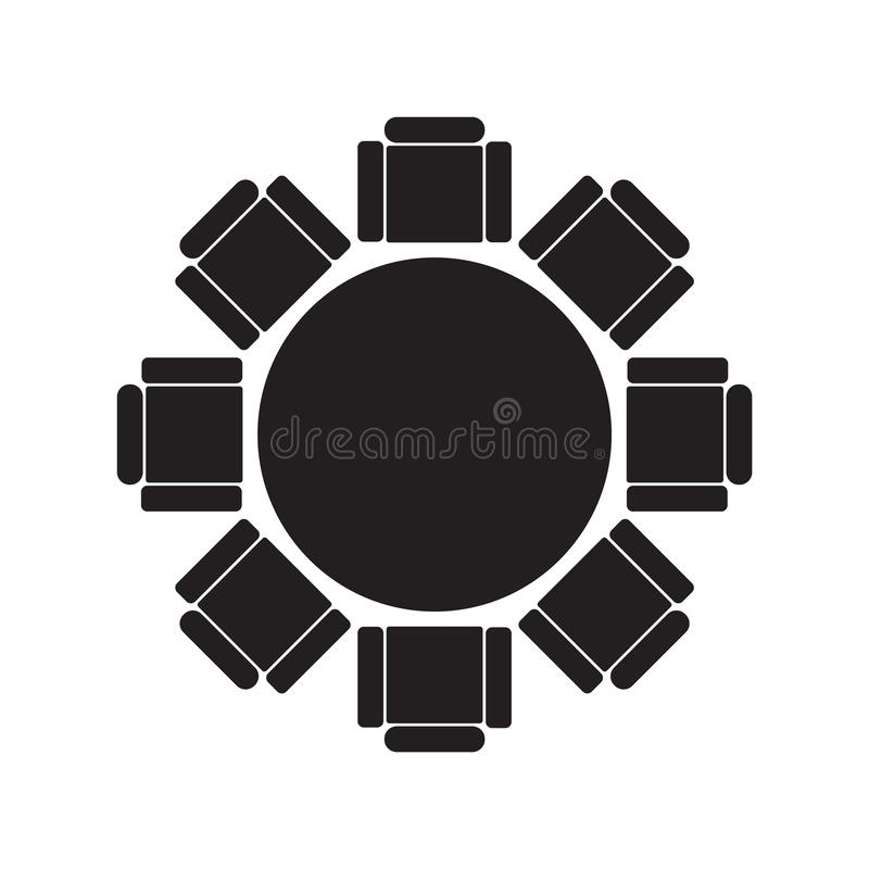 Round table and chairs icon vector illustration