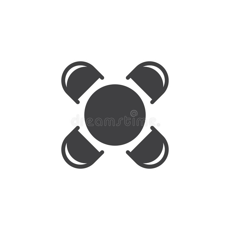 Round table and chairs top view vector icon. Filled flat sign for mobile concept and web design. House interior furniture simple solid icon. Symbol, logo stock illustration