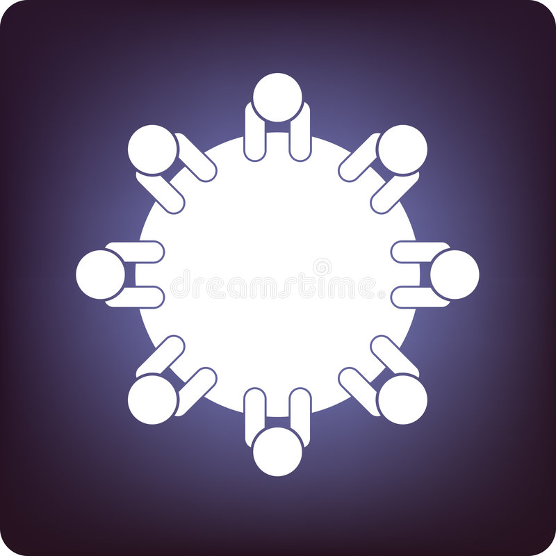 Round table discussion vector illustration