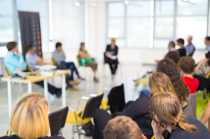 Round table discussion at business and entrepreneurship convention. stock image