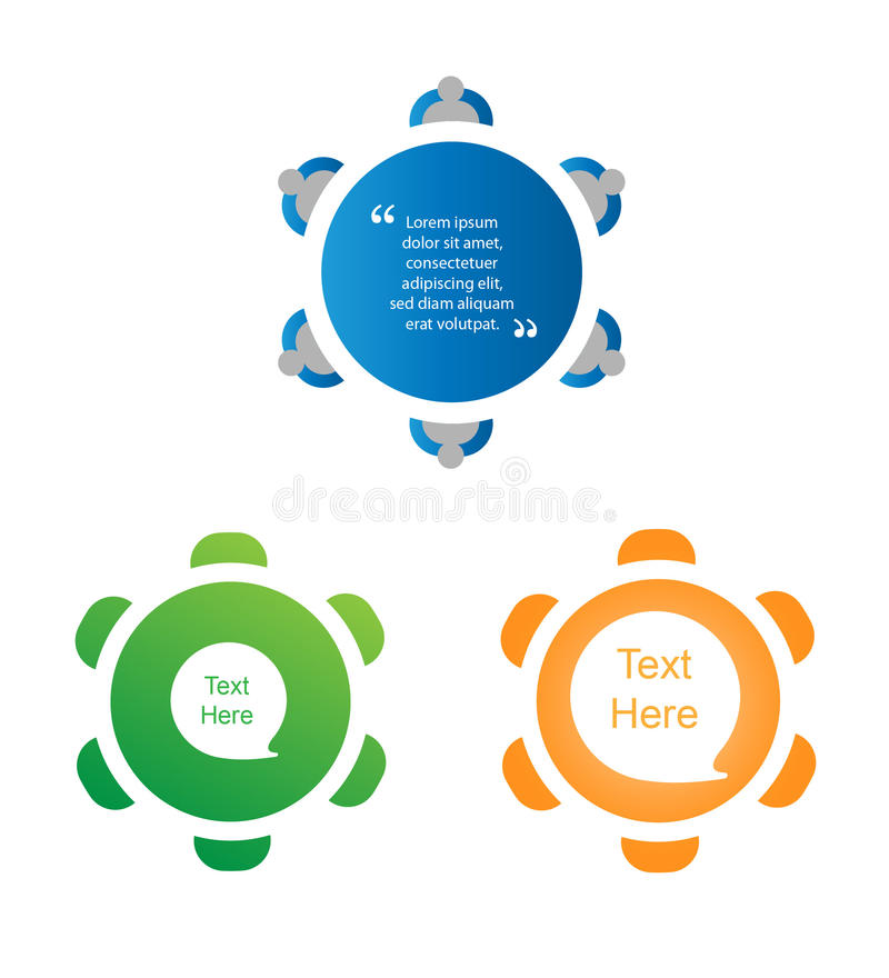 Round table discussion icon set vector illustration
