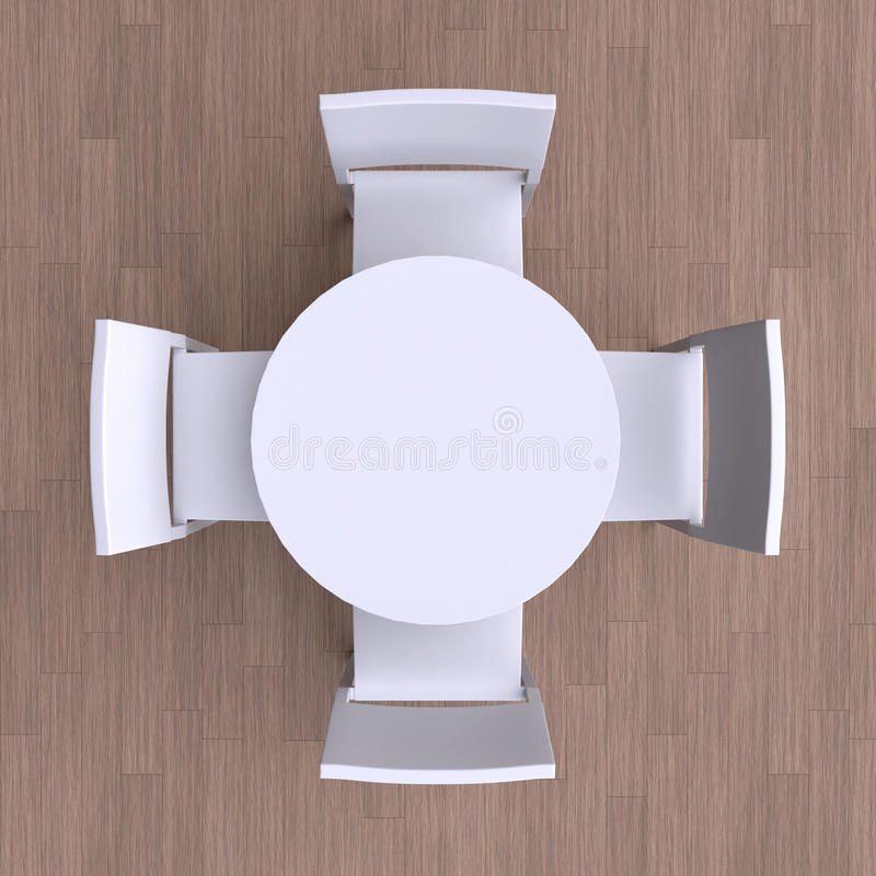 Round table with four chairs. Top view. 3d illustration