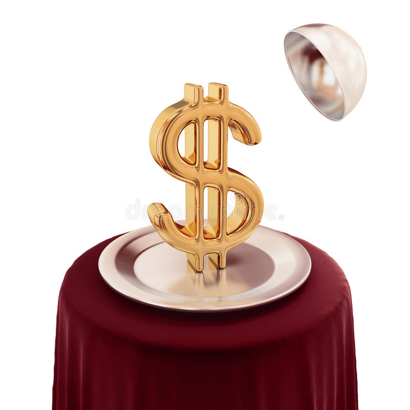 Free Round Table , Silver Dish And Golden Dollar Sign. Stock Photography - 19784132