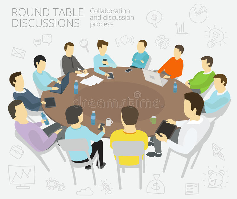 Round-table talks. Group of business people team vector illustration