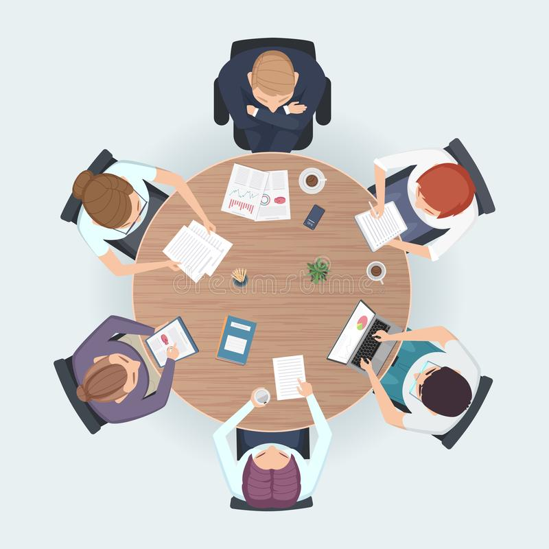 Round table top view. Business people sitting meeting corporate workspace brainstorming working team vector illustration. Table work for conference and royalty free illustration
