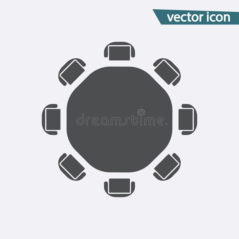 Round table vector. Discussion flat icon isolated. Modern flat pictogram, business, marketing, inter royalty free illustration