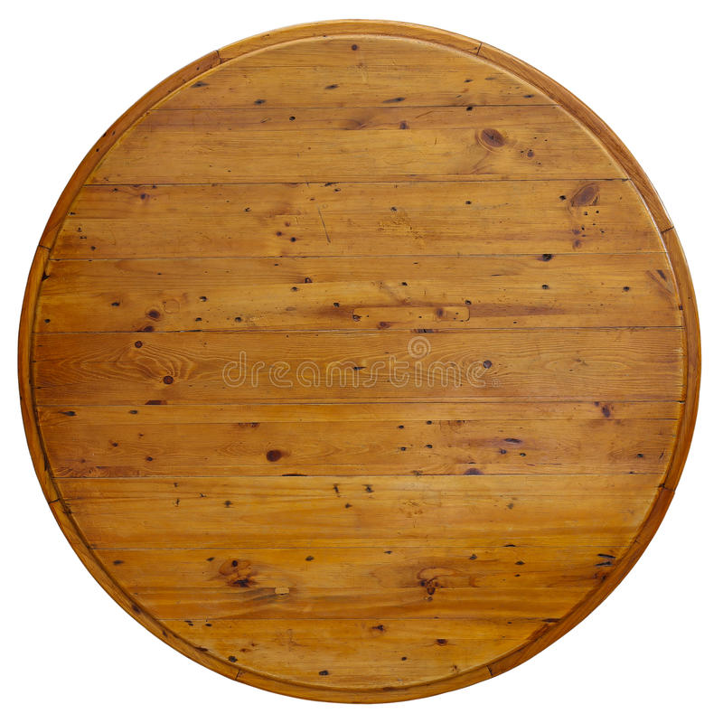Round Table Wooden Board. Isolated on white royalty free stock photography